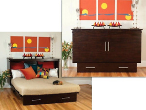 Providence Dbl Cabinet Bed, INCLUDES memory matt, MADE IN BC