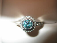 14 Kt. White Gold and Blue Diamond Ring with 24 Diamond Accents
