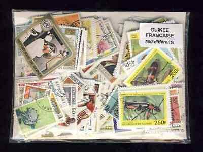Guinée Française - French Guinea 500 timbres différents oblitérés