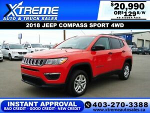 2018 JEEP COMPASS SPORT 4WD *INSTANT APPROVAL* $129/BW!