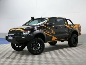 2013 Ford Ranger PX XL 3.2 (4x4) Black & Orange 6 Speed Automatic Dual Cab Utility