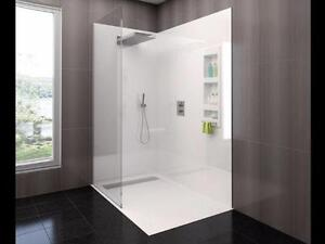 "60 x 32"" Unique Engineered Resin Shower Wall System White/Biscut"
