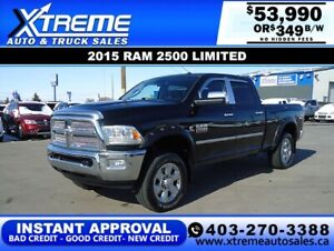 2015 RAM 2500 LIMITED CREW *INSTANT APPROVAL* $0 DOWN $349/BW
