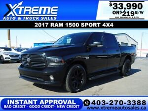 2016 RAM 1500 SPORT CREW CAB *INSTANT APPROVAL* $0 DOWN $219/BW