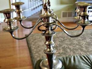 Birks Antique Silver Plated Multi-Piece Candelabras (2)