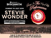 TWO TICKETS .Stevie wonder BST Hyde park excellent accessible seating rare and limited tickets