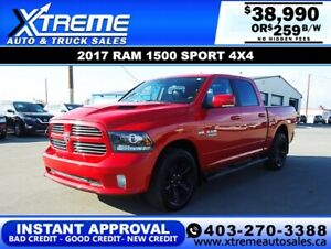 2017 RAM 1500 SPORT CREW CAB *INSTANT APPROVAL* $0 DOWN $259/BW