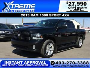 2013 RAM 1500 SPORT CREW *INSTANT APPROVAL* $0 DOWN $189/BW!