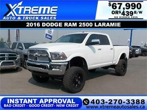 2016 RAM 2500 LARAMIE LIFTED *INSTANT APPROVAL* $439/BW!