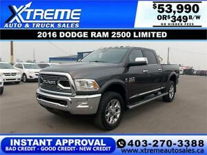 2016 RAM 2500 LIMITED CREW *INSTANT APPROVED* $349/BI-WEEKLY