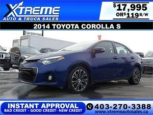 2014 Toyota Corolla S $139 bi-weekly APPLY NOW DRIVE NOW