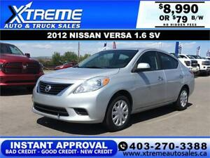 2012 NISSAN VERSA 1.6 SV *$0 DOWN* $79 B/W APPLY NOW DRIVE NOW