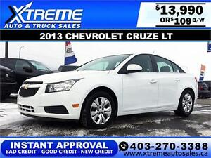 2013 Chevrolet Cruze LT $109 bi-weekly APPLY NOW DRIVE NOW