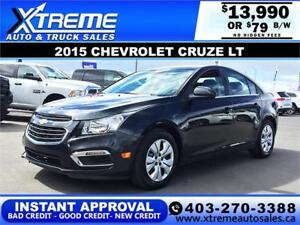 2015 Chevrolet Cruze LT $79 bi-weekly APPLY NOW DRIVE NOW