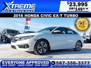 2016 Honda Civic EX-T Turbo $149 BI-WEEKLY APPLY NOW DRIVE NOW