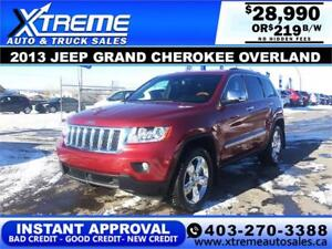 2013 JEEP GRAND CHEROKEE OVERLAND $219 B/W APPLY NOW DRIVE NOW