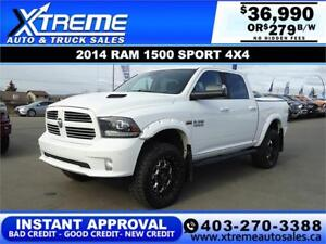 2014 RAM 1500 SPORT CREW LIFTED *INSTANT APPROVAL* $279/BW!