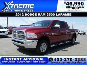 2012 DODGE RAM 3500 LARAMIE MEGA CAB *INSTANT APPROVAL* $409/BW!