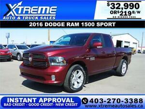 2016 RAM 1500 SPORT QUAD CAB  *INSTANT APPROVAL* $219/BW