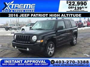 2016 JEEP PATRIOT HIGH ALTITUDE $139 B/W *INSTANT APPROVAL*