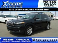 2016 JEEP CHEROKEE NORTH 4WD  *INSTANT APPROVAL* $139/BW!