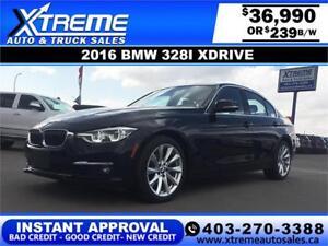 2016 BMW 328i Xdrive $239 bi-weekly APPLY NOW DRIVE NOW