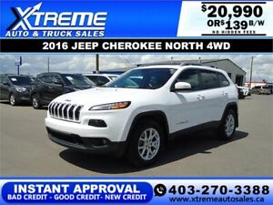 2016 JEEP CHEROKEE NORTH 4WD *INSTANT APPROVAL* $0 DOWN $139/BW!