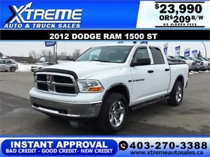 2012 DODGE RAM 1500 ST CREW *INSTANT APPROVAL* $0 DOWN $209/BW!