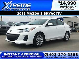 2013 Mazda Mazda3 SkyActiv $109 bi-weekly APPLY NOW DRIVE NOW