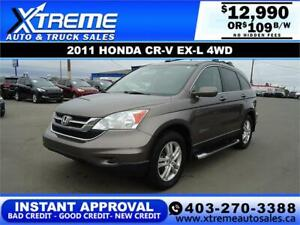 2011 HONDA CR-V EX-L 4WD $109 Bi-Weekly APPLY NOW DRIVE NOW