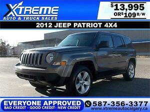 2012 Jeep Patriot 4x4 North $109 bi-weekly APPLY NOW DRIVE NOW