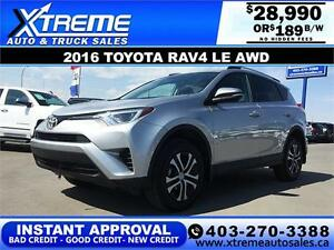 2016 Toyota RAV4 LE AWD $189 bi-weekly APPLY NOW DRIVE NOW