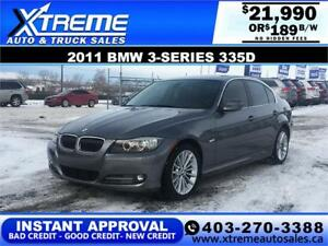 2011 BMW 335 DIESEL $0 DOWN $189 B/W APPLY NOW DRIVE NOW