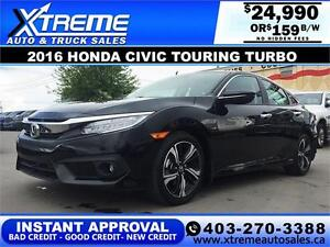 2016 Honda Civic Touring Turbo *INSTANT APPROVAL $0 DOWN $159 BW