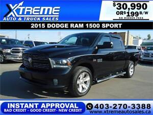 2015 RAM 1500 SPORT CREW CAB *INSTANT APPROVAL $199/BW