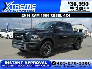 2016 RAM 1500 REBEL CREW CAB *INSTANT APPROVAL* $239/BW!