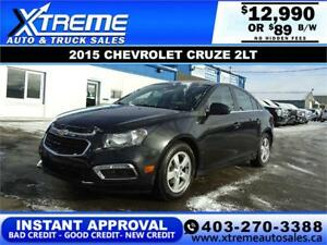 2015 CHEVROLET CRUZE 2LT $0 DOWN $89 B/W APPLY NOW DRIVE NOW