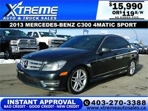 2013 MERCEDES-BENZ C300 4MATIC $119 B/W! APPLY NOW DRIVE NOW