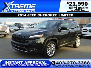 2014 JEEP CHEROKEE LIMITED $0 DOWN $169 B/W APPLY NOW DRIVE NOW