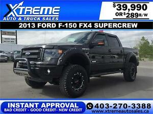2013 Ford F-150 Lifted Fx-4 SuperCrew $289 b/w $0 DOWN DRIVE NOW