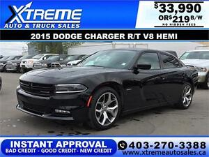 2015 Dodge Charger R/T V8 HEMI $219 b/w APPLY NOW DRIVE NOW