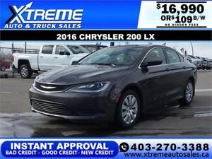 2016 CHRYSLER 200 LX $109 B/W APPLY NOW DRIVE NOW