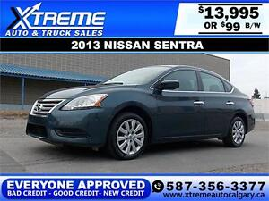 2013 Nissan Sentra 2.0L $99 bi-weekly APPLY NOW DRIVE NOW