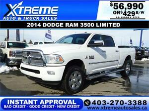 2014 RAM 3500 LIMITED CREW *INSTANT APPROVAL* $0 DOWN $429/BW