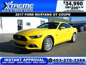 2017 FORD MUSTANG GT COUPE $209 BI-WEEKLY *$0 DOWN APPLY NOW