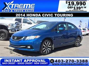 2014 HONDA CIVIC TOURING $0 DOWN $139 b/w APPLY NOW DRIVE NOW