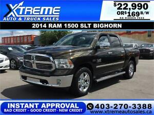 2014 RAM 1500 SLT BIGHORN CREW *INSTANT APPROVAL* $169/BW!