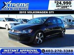 2015 VOLKSWAGEN GTI $169 B/W! *$0 DOWN* APPLY NOW DRIVE NOW