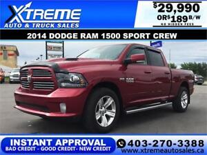 2014 DODGE RAM 1500 SPORT CREW *INSTANT APPROVAL* $0 DOWN $189/