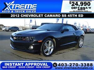 2012 CHEVROLET CAMARO SS 45TH ED. $189 B/W APPLY NOW DRIVE NOW